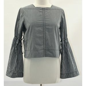 Derek Lam 10 Crosby Black White Gingham Bell Top